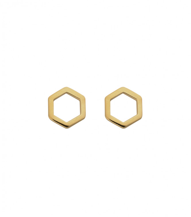 STRICT EARRING HEXAGON GULD