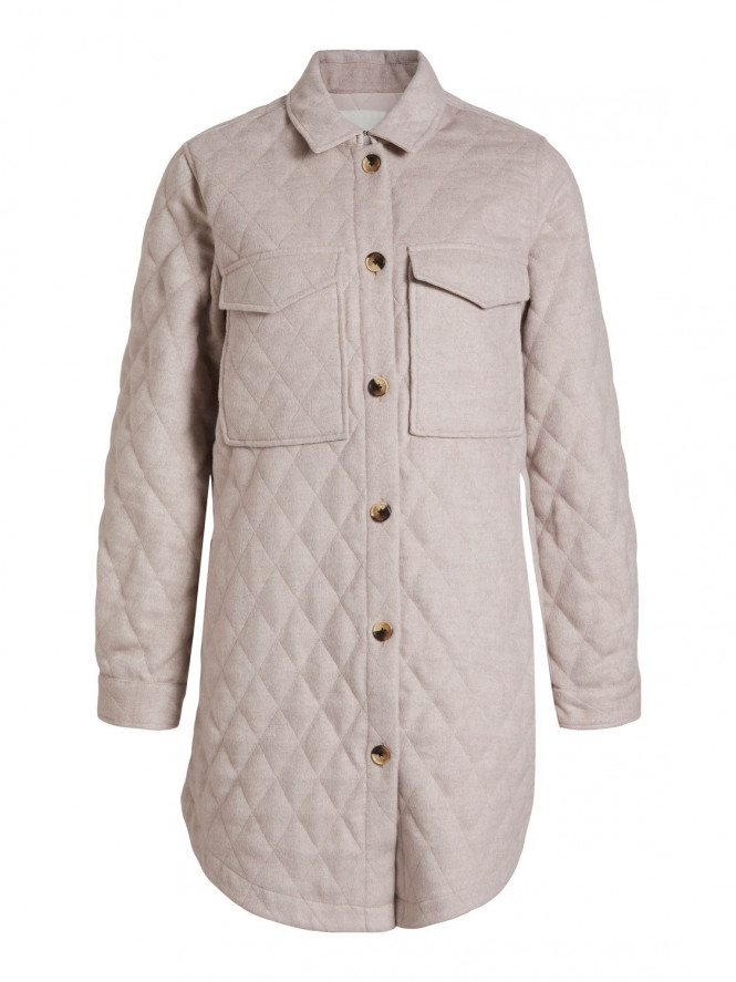VERA LONG QUILTED JACKET BEIGE
