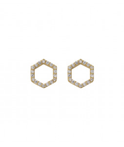 STRICT EARRING HEXAGON SPARKEL GULD