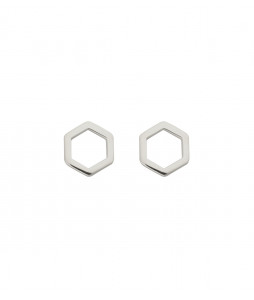 STRICT EARRING HEXAGON SILVER