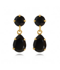 MINI DROP EARRING GULD BLACK JET